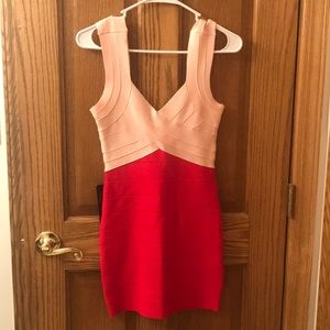Blush/Red bebe colorblock dress